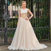 Dressv Champagne Long A Line Scoop Neck Wedding Dress Cap Sleeves Tulle Appliques Button Chapel Train