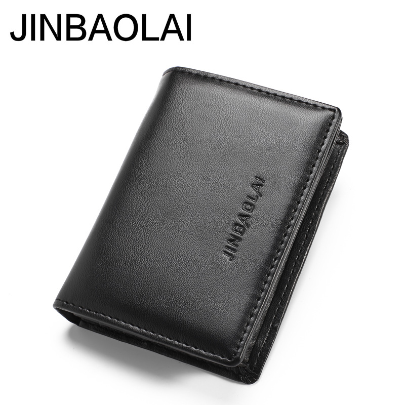 JINBAOLAI Black Men Card Holder Wallet Minimalist Travel Credit Card Holder Rfid Protective Cover For Documents-- BID092 PM49 jinbaolai men credit card holder leather luxury rfid card wallets brand male purse dollar price business wallet bid092 pr15