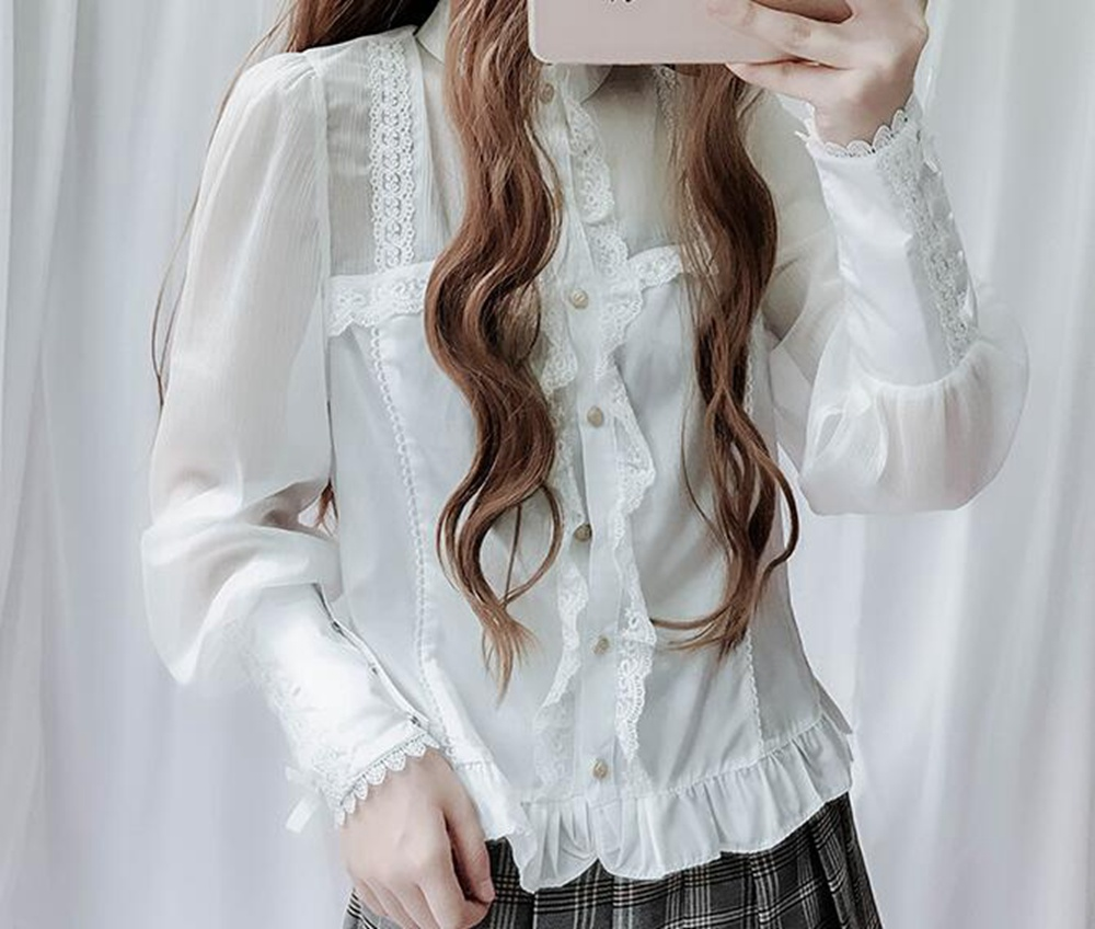 Women Vintage Style Lolita Blouse White Long Sleeve Stand Collar Lace-up Cuff Shirt Tops