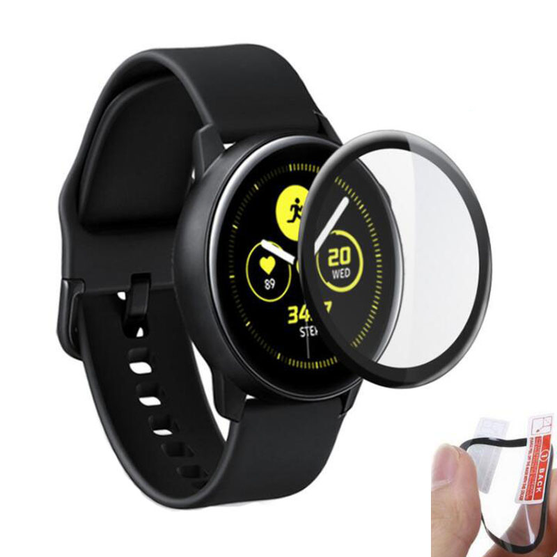 3D Curved PET (No Glass) Soft Clear Full Edge Cover Protective Film For Samsung Galaxy Watch Active R500 Screen Protector Guard
