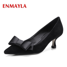ENMAYLA Slip-On Pointed Toe Kid Suede High Heel Shoes Ladies Shoes Strappy Heels Calzado Mujer Size 34-39 ZYL2014