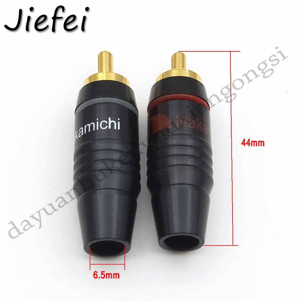 2-50 stuks Zwarte hoge kwaliteit Hifi Messing 8 stuks Nakamichi RCA Male Plug Jack Audio Kabel Soldeer Goud plated Connector