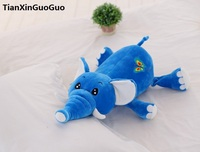 lovely prone elephant plush toy about 50cm cartoon blue elephant down cotton soft doll birthday gift s0192