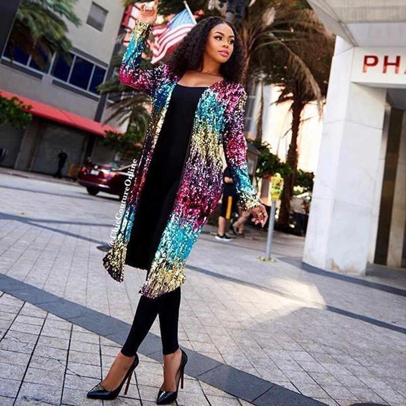 79e1d64a27 glitter rainbow sequin fashion woman clothes casaco feminino harajuku  Luxury plus size long coat iridescent autumn winter 2018