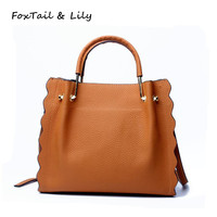 FoxTail Lily Petal Shape Natural Cow Leather Handbags Women Real Genuine Leather Tote Shoulder Messenger Bags