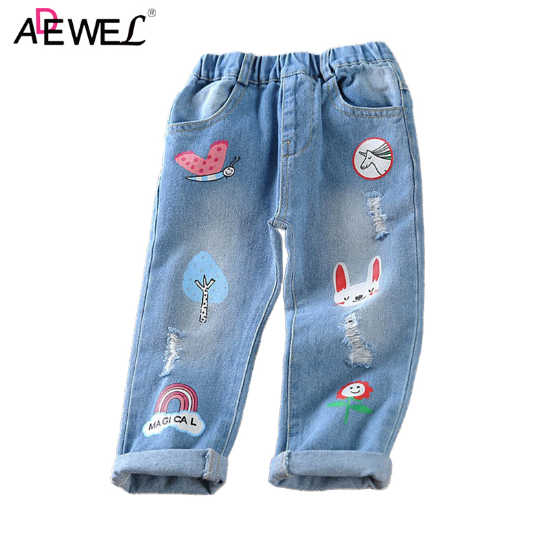 Cartoon Graffiti Printed Girls Jeans 2018 New Casual Elastic Waist Kids Denim Pants Broken Hole Jean for Girls Children Trousers fashion casual women brand vintage high waist skinny denim jeans slim ripped pencil jeans hole pants female sexy girls trousers
