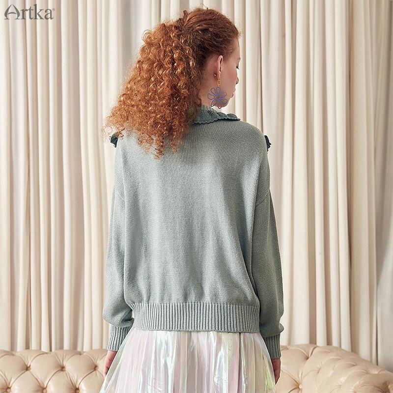 ARTKA 2019 primavera nuevas mujeres cárdigan suéter de Color sólido cuello redondo Casual algodón acrílico Material de manga larga suéter abrigo WB10098C-in chaquetas básicas from Ropa de mujer    3