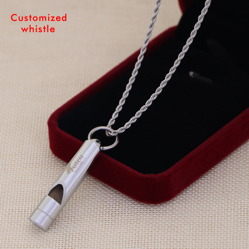 metal whistle outdoor Emergency survival sliver golden couples whistle for camping sport games with necklace laser name