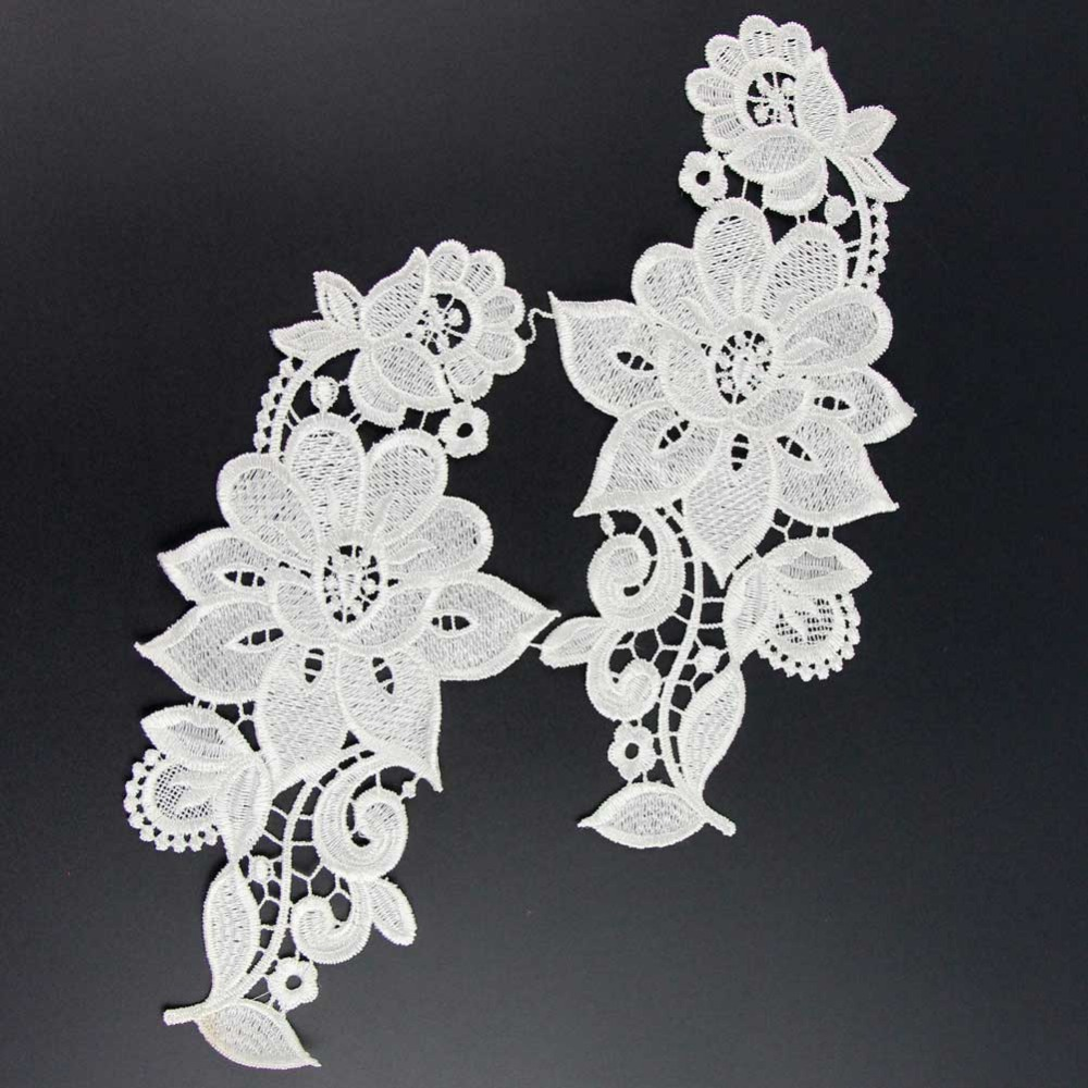 1 Pair Polyester Venise Floral Flower Motif Lace Applique Sewing Craft White