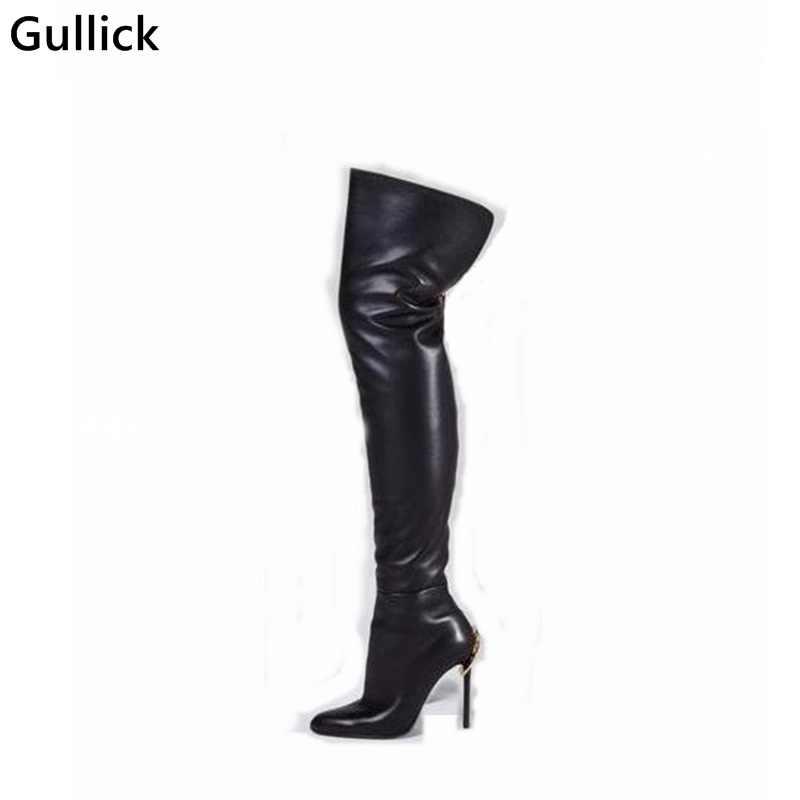 Nouvelle mode en cuir noir cuisse haute botte doré Zip décor bout pointu botte serré mince talons hauts bottes pour femme