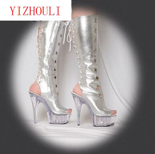 The new appeal of sex appeal, 15 cm crystal bottom super high heel boots, pole dancing patent leather Dance Shoes emphasis has been placed on the appeal of shoes pu sandals 15 cm super stilettos model stage photos of shoes