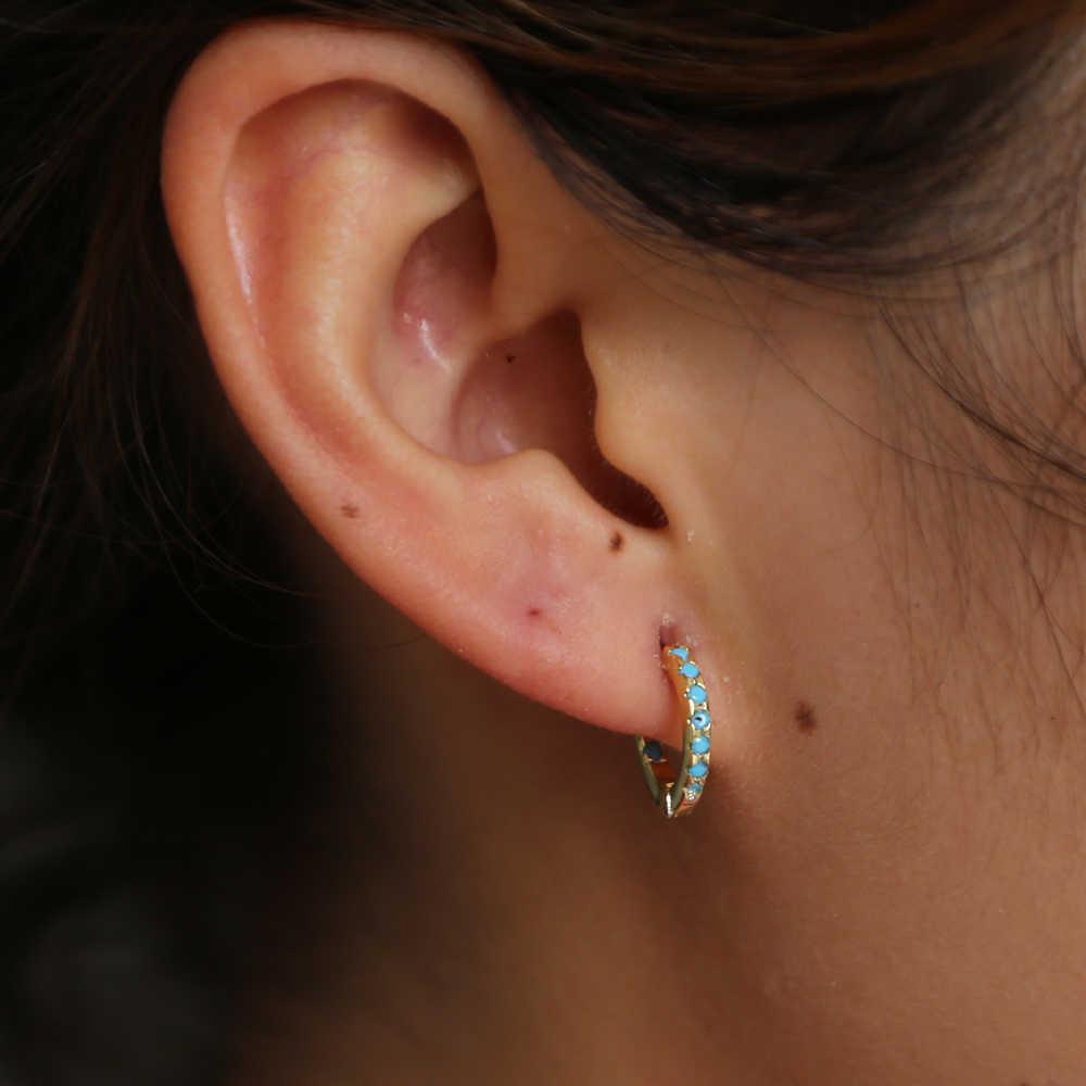 39c74cc8d ... 925 sterling silver mini turquoises hoops earring for girl small cute  hoop Huggie elegance lovely new