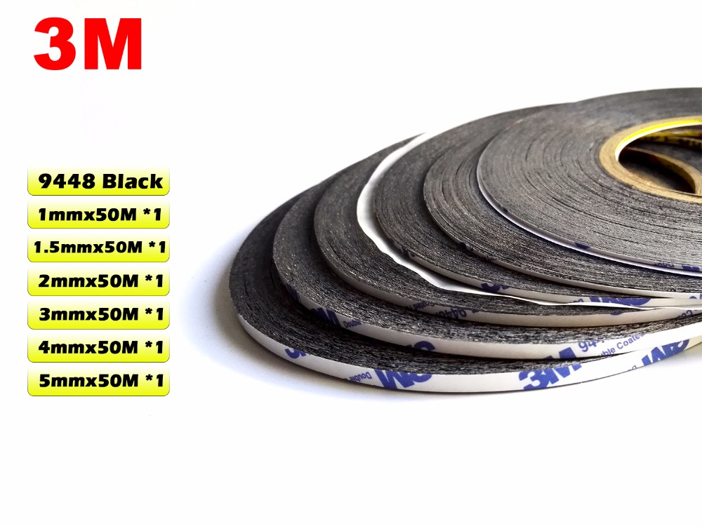6x (1mm/1.5mm/2mm/3mm/4mm/5mm) Width, Most Use 3M Adhesive Black Glue Tape for iphone/ipad/Samsung Galaxy Android Tablet Screen