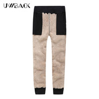 Uwback Winter Thicken Pants Men Lamb Fleece Warm Sweatpants Elastic Waist Faux Fur Military Casual Pants