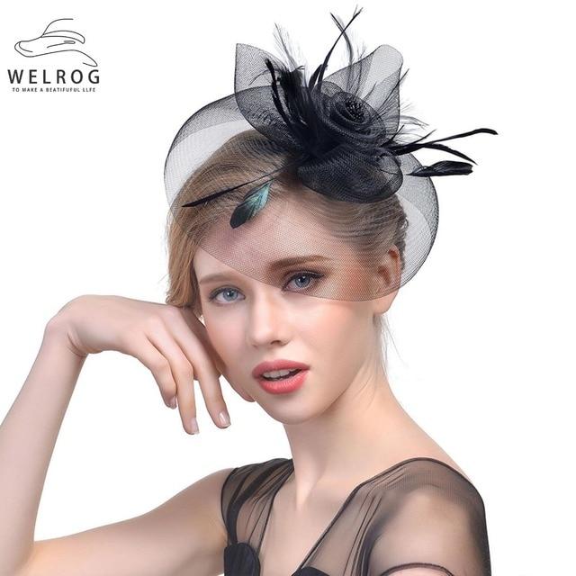 320c10f92 US $7.31 39% OFF|WELROG Womens Fascinator Hat Feather Gauze Mesh Net Hair  Clip Headwear for Party Wedding Lady Mini Female Vintage Fedora Hats-in ...