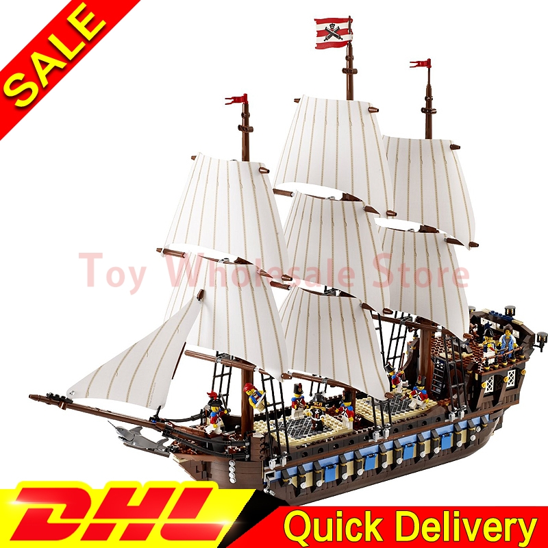 LEPIN 22001 Pirates Series The Imperial Flagship Model Building Blocks Set Pirate Ship lepins Toys For children Clone 10210 bevle store lepin 22001 4695pcs with original box movie series pirate ship building blocks bricks for children toys 10210 gift