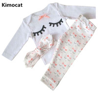 Newborn Baby Girl Summer Clothes Set Eyelash Print Bow Tie Baby Clothes Girl Outfit Tops Pant