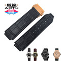 AUTO HUBBANDS 25x19mm Watch Bands for Big/Bang Sport Straps Rubber Stick Genuine Leather Deployment Clasp for HUB + Free Tools