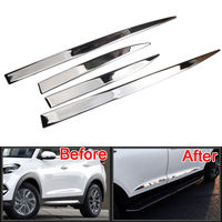 BBQ@FUKA Car ABS Chrome Side Door Line Garnish Body Trim Cover For 2015 2017 Hyundai Tucson Car exterior protective strip sticke