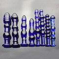 Женский большой прозрачный синий стекло пенис член придерживаться анальную пробку вагинальные палка стыковых стимулятор фаллоимитаторы секс игрушки для женщин