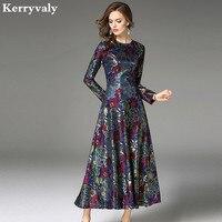 Robe Vintage Big Swing Long Lace Dress Vestido Longo De Festa 2017 Long Sleeve Evening Party