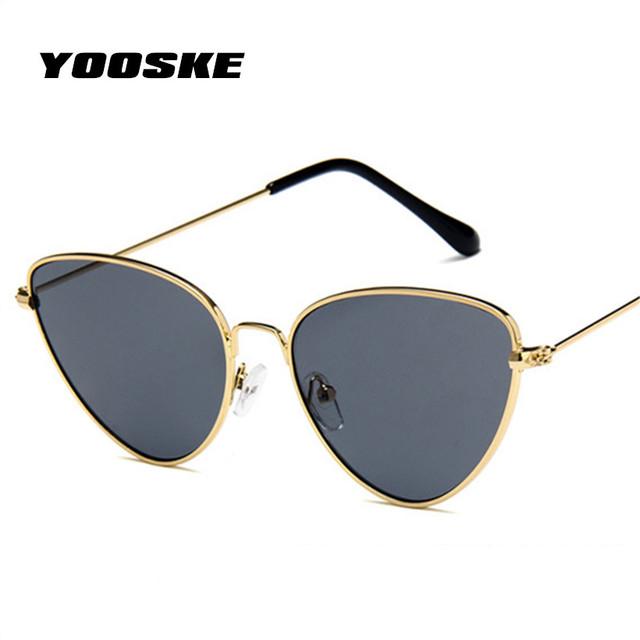 YOOSKE Retro Cat Eye Sunglasses Women Red Cateyes Sun glasses Fashion Light Weight Sunglass for women Vintage Metal Eyewear