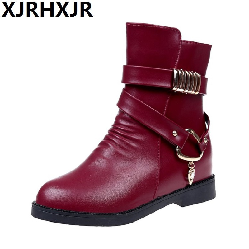 Autumn and Winter Short Boots Flat Platform Mid-calf Boots Shoes Martin Boots Women Round Toe Height Increasing Brand Boots enmayla fashion autumn women mid calf boots shoes women classic black shoes size 39 platform boots round toe motorcycle boots
