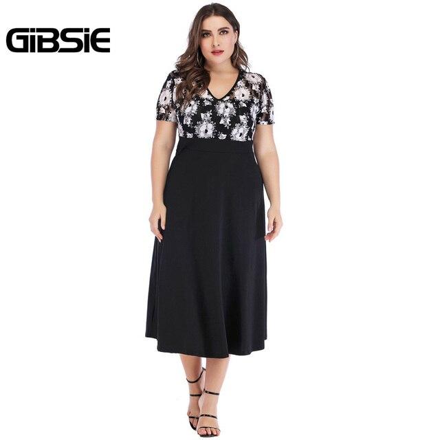 GIBSIE 5xl 4xl Vintage Floral Lace Casual Party Dress Summer Women Black Elegant Plus Size V Neck Short Sleeve A Line Long Dress 5