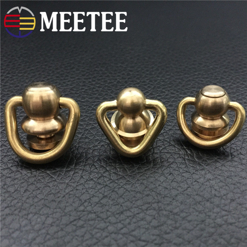3pcs Meetee brass hardware luggage accessories O type D type rotation bag buckles high quality rings F1-35