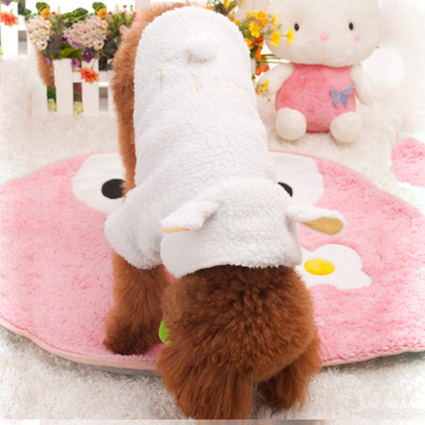 Pet Puppy Dog Clothes Cute White Sheep Warm Hoodie Coat Apparel XS S M L XL