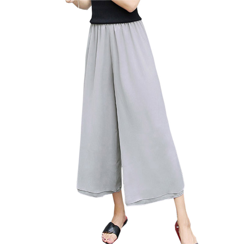 Women Chiffon   Pants     Capris   Solid Color Loose Wide Leg   Pants   Elastic High Waist Chiffon Trousers 2018 Summer Beach   Pant   FP0933