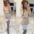 Hot 2016 Tunic Lace Patchwork Dress Women Casual ,fashion,sexy,Full Sleeve waist,Dew shoulder Dresses Slash Neck Plus Size Dress