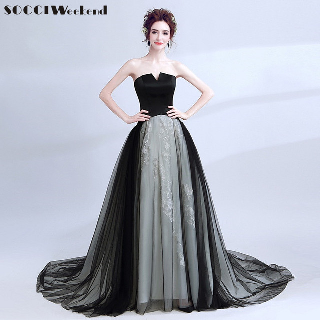 Black Long Evening Dress the Bride Banquet Blue Lace Flowers Prom Party Gown Photography Formal Dresses