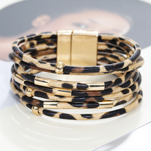 Flashbuy Multilayer Leopard Leather Bracelets For Women Female Vintage Boho Wrap Charms Fashion Jewelry Accessories