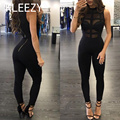 Letter Long Pants Sexy Lace One Piece Outfits Bodycon Black  Jumpsuits Playsuit Drawstring Bandage Rompers Women Jumpsuit H2298