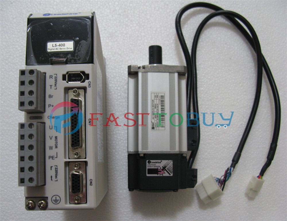 CNC NEMA16 100W AC Servo Motor Drive Kits System 220V 3000R/Min 1.27A 0.318NM 2500line Flange 40mm Brake 3M Cable Leadshine New leadshine 200w brushless ac servo drive and motor kit acs806 acm602v60 2500 new