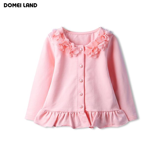 2016 de la moda de otoño niños ropa para niños lindos niñas rosa de encaje de algodón de manga larga ruffle cardigan tejido de punto suéteres ropa