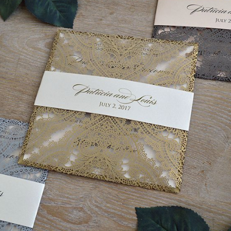 Luxury gold invitation with belly band laser cutting offer customized printing party invites free ship