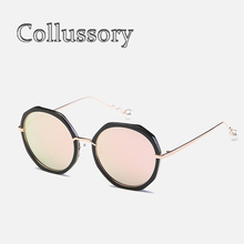 a31cc771c8 El 2019 de las mujeres gafas de sol de moda de marca de diseñador  polarizadas redondas de Metal Retro espejo lente gran conducci.