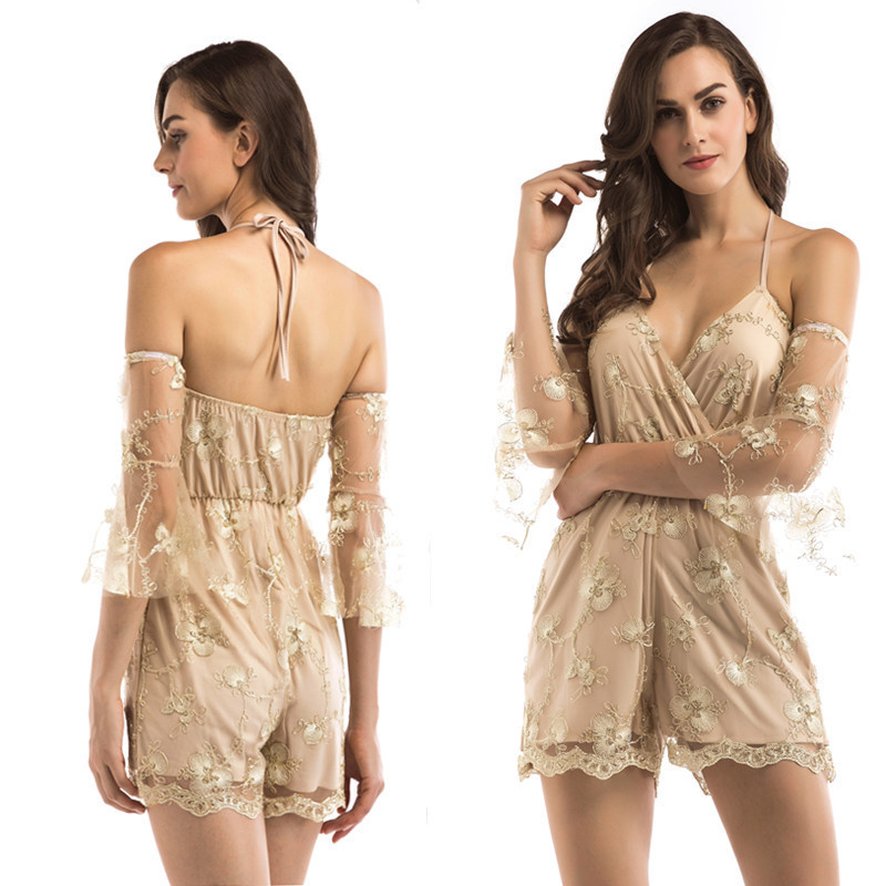MUXU summer v neck sexy rompers womens jumpsuit off shoulder short suspenders backless body feminino embroidery jumpsuits in Rompers from Women 39 s Clothing