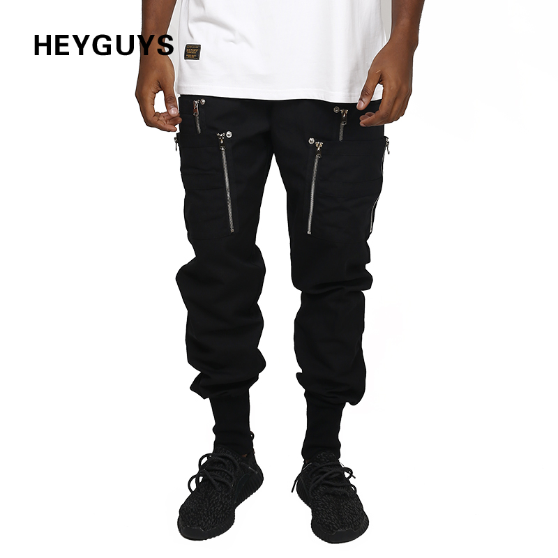 HEYGUYS 2018 new fitness Pant zipper pants mensweatpants Trousers Fashion Fitted Bottoms street wear hip hop pencil pants
