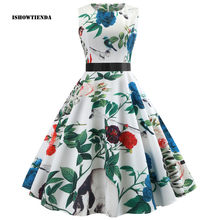 5e4773f1d705 (Ship from US) 9 Patterns Floral Print High Waist Vintage Dress Women 2019  Summer vestidos female Robe Sleeveless Female Retro Vintage Dresses