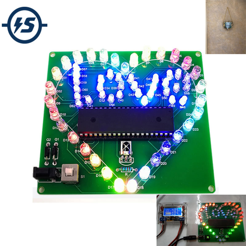 Colorful LED Lamp Heart Shape Electronic DIY Kit Remote Control For Love USB Electronic Production DIY Kits Heart Shaped