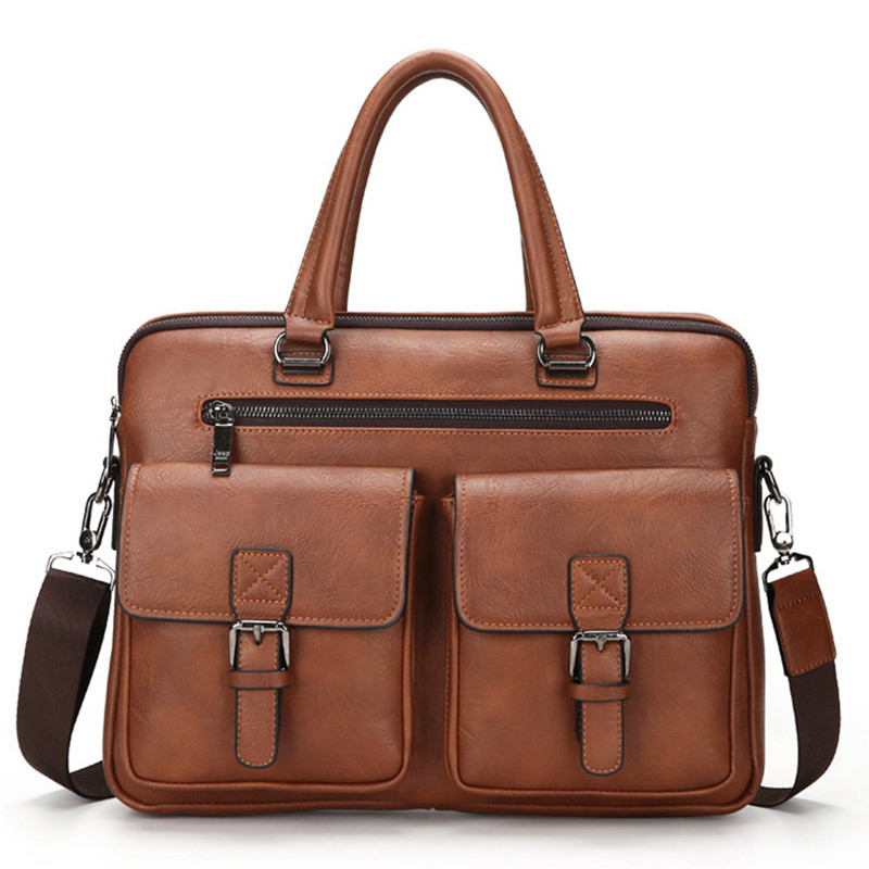 2018 New Men Split Leather Handbag Zipper Men Business Polyester Two Silt Pocket Soft Handle 14 Inches Briefcases Bags(China)