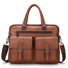 2020 New Men Split Leather Handbag Zipper Men Business Polyester Two Silt Pocket Soft Handle 14 Inches Briefcases Bags