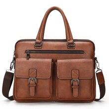 2020 neue Männer Split Leder Handtasche Zipper Männer Business Polyester Zwei Silt Tasche Weichen Griff 14 Zoll Aktentaschen Taschen