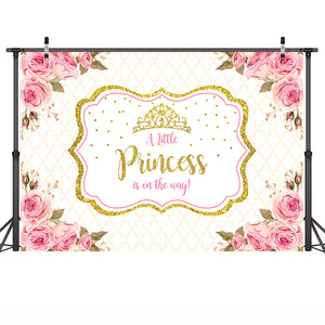 Image 2 - Mehofoto Baby Shower Photo Backdrop for Photography Little Princess Newborn Flower Background Gold Crown Birthday Party Booth
