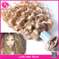 7A Unprocessed Brazilian Blonde Curly Hair Extensions Loose Kinky Curly Virgin Hair Bundles 613 & 27 Brazilian Curly Hair Weave