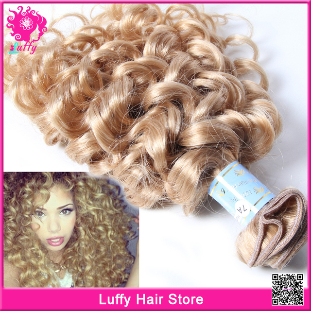 7a Unprocessed Brazilian Blonde Curly Hair Extensions Loose Kinky