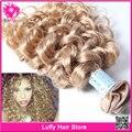 7A não transformados loira extensões de cabelo encaracolado Kinky Curly virgem cabelo Bundles 613 27 Curly brasileiro cabelo Weave